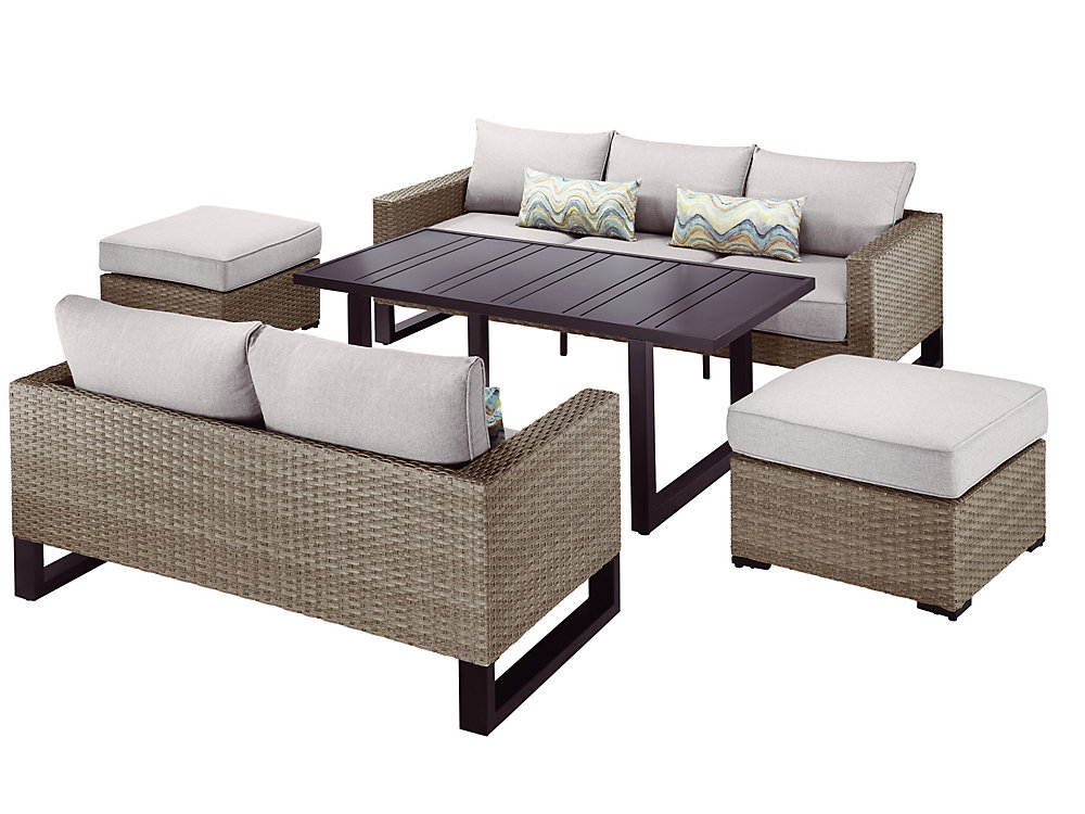 Strange Park Heights 5 Piece Wicker Patio Deep Seating Set With Chow Height Table And Putty Cushions Home Interior And Landscaping Mentranervesignezvosmurscom