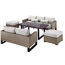 Park Heights 5-Piece Wicker Outdoor Patio Deep Seating Set with Dining Height Table and Putty Cushions