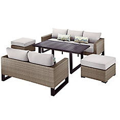 Park Heights 5-Piece Wicker Patio Deep Seating Set with Chow Height Table and Putty Cushions