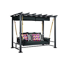 Hampton Bay Pacific Landing Steel/Aluminum Swing with Flat Canopy