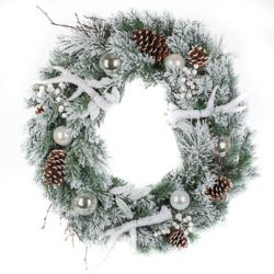 Home Accents Holiday 30-inch Flocked Mixed Pine Wreath