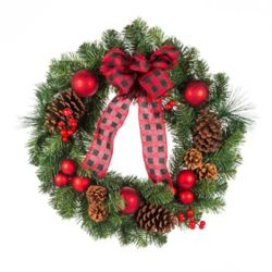 Home Accents Holiday Couronne de Noël, rouge, 24 po