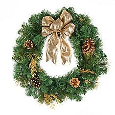 Couronne de Noël, doré, 24 po