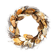30-inch Artificial Magnolia Wreath in Gold