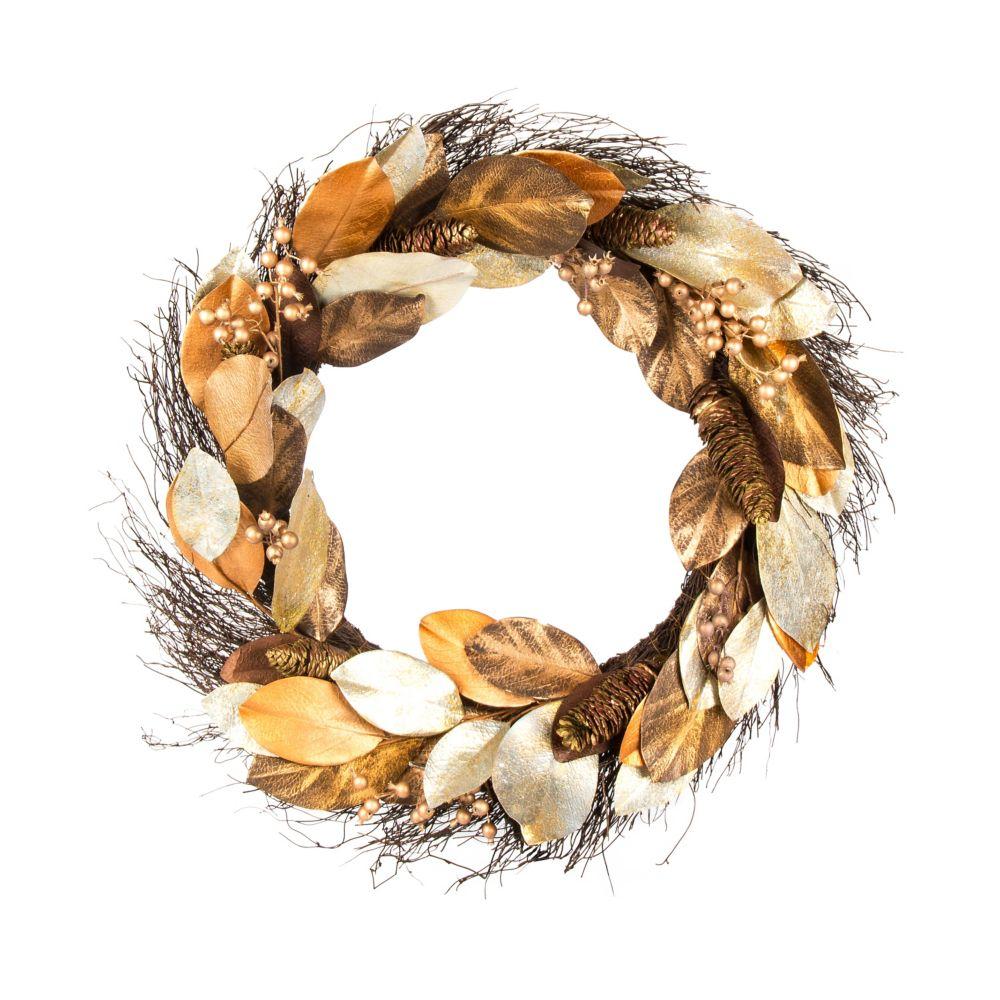 30-inch Artificial Magnolia Wreath in Gold