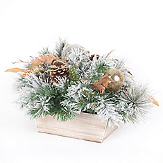 12-inch Flocked Decorated Centrepiece Christmas Decoration