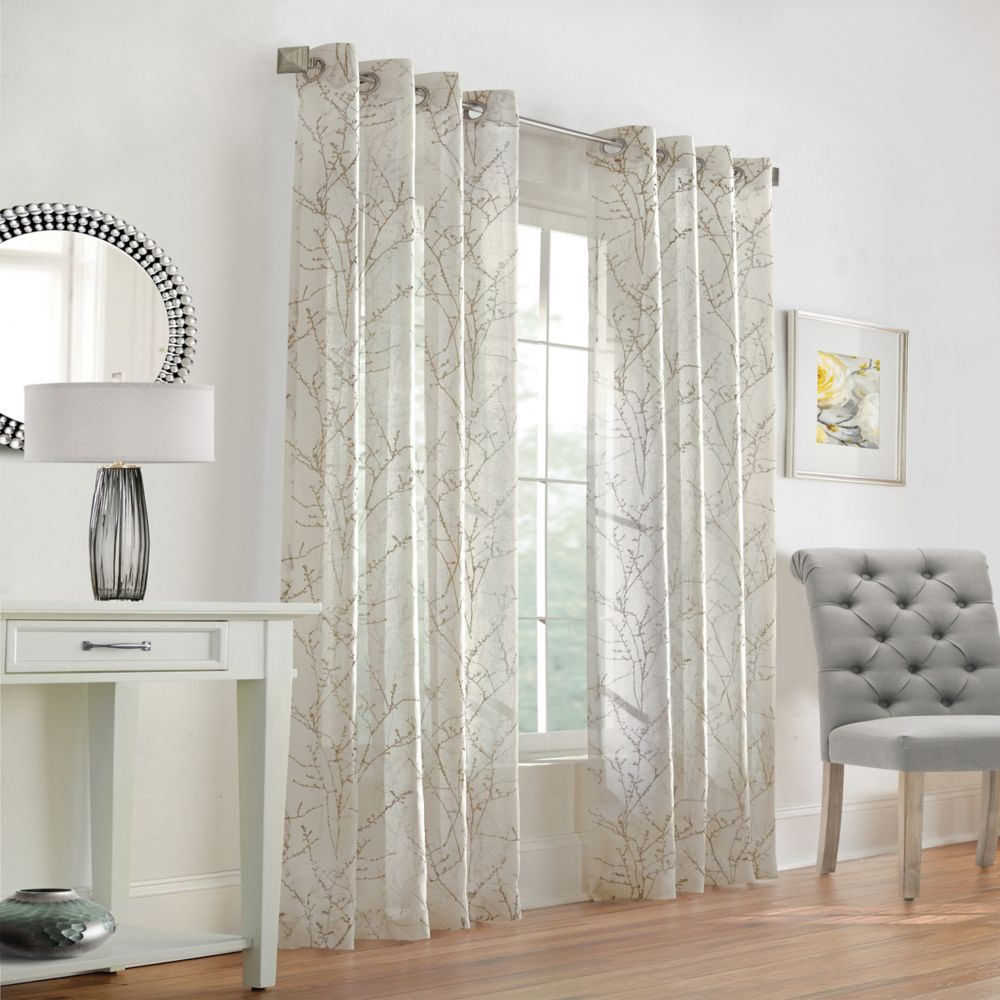 Home Decorators Collection Willow Sheer Grommet 52x84 Taupe
