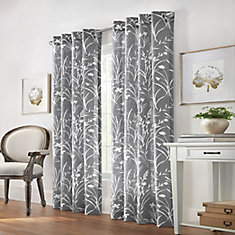 Westport Floral Faux Linen Light Filtering Grommet 52x84 Grey
