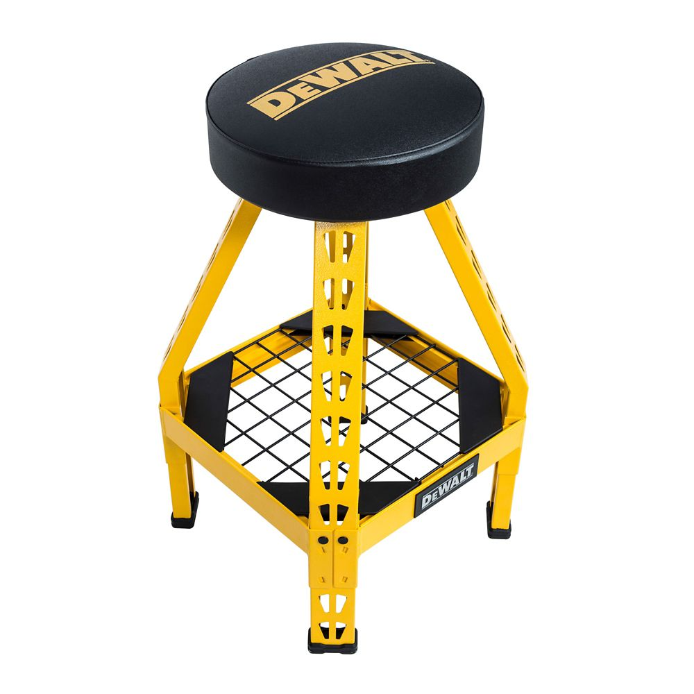 DEWALT 32-inch H x 17-inch W x 17-inch D Swivel Seat Shop Stool in Yellow