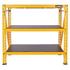 Étagère industrielle jaune à 3 tablettes en acier ou en stratifié, 48 x 50 x 18 po (H. x l. x P.)