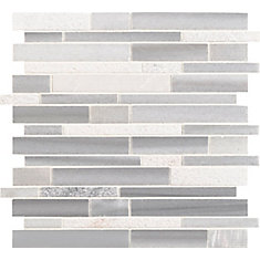 Bergamo Interlocking 11.81 inch x 11.81 inch x 10mm Marble Mesh-Mounted Mosaic Tile