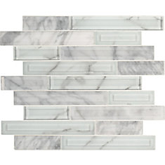 Blocki Blanco Interlocking 12.2 inch x 11.61 inch x 8mm Glass Stone Mesh-Mounted Mosaic Tile