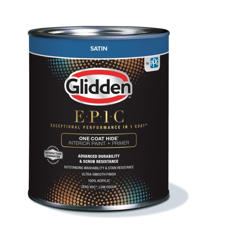 Glidden EPIC One Coat Hide Interior Paint + Primer Satin White 916 mL