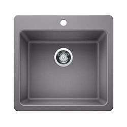 GLACIER BAY Top-Mount Composite Granite 21-inch 3-Hole Single Bowl Kitchen Sink in Silver