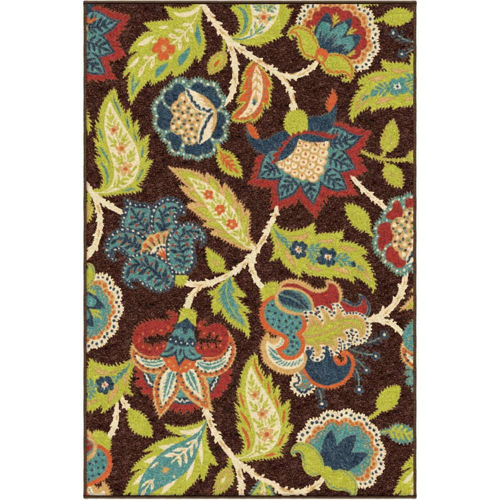 Orian Rugs Ethridge Brown 5 ft. 2-inch x 7 ft. 6-inch Outdoor Area Rug