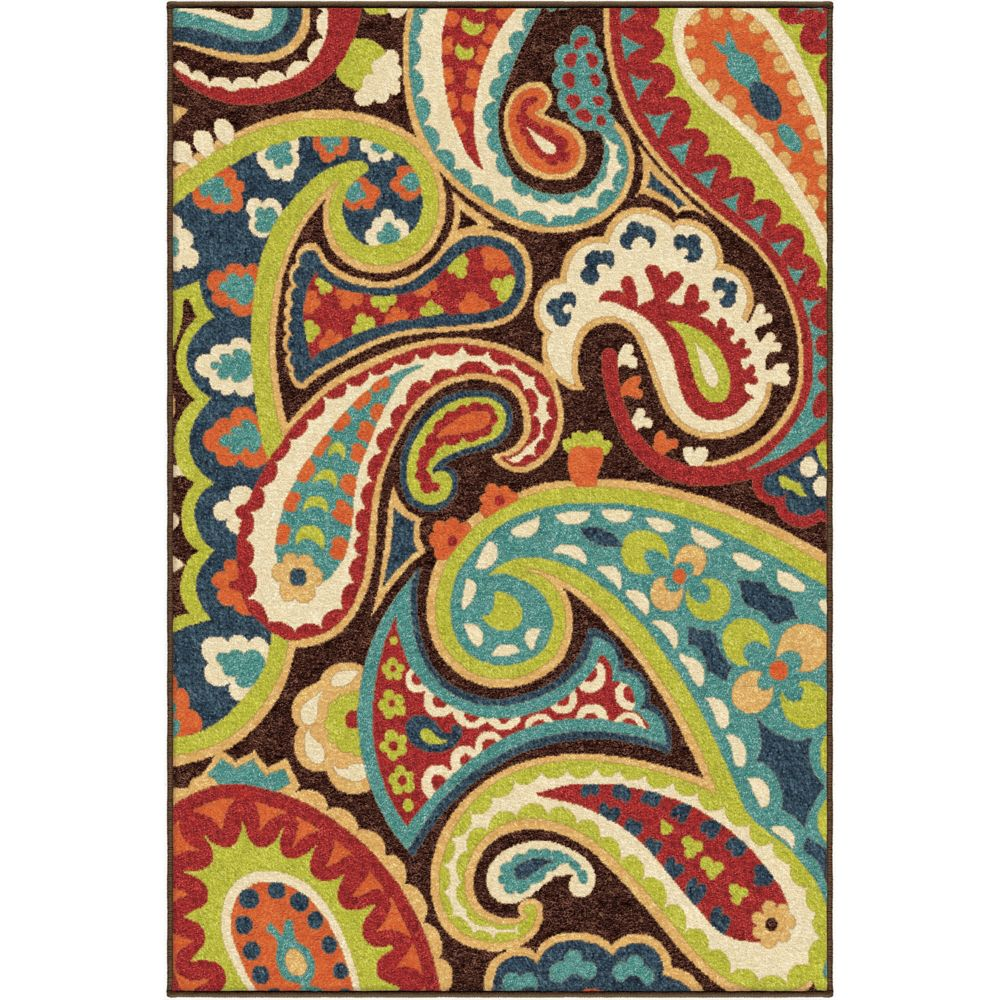 Orian Rugs Paisley Multi 5 ft. 2-inch x 7 ft. 6-inch Outdoor Area Rug
