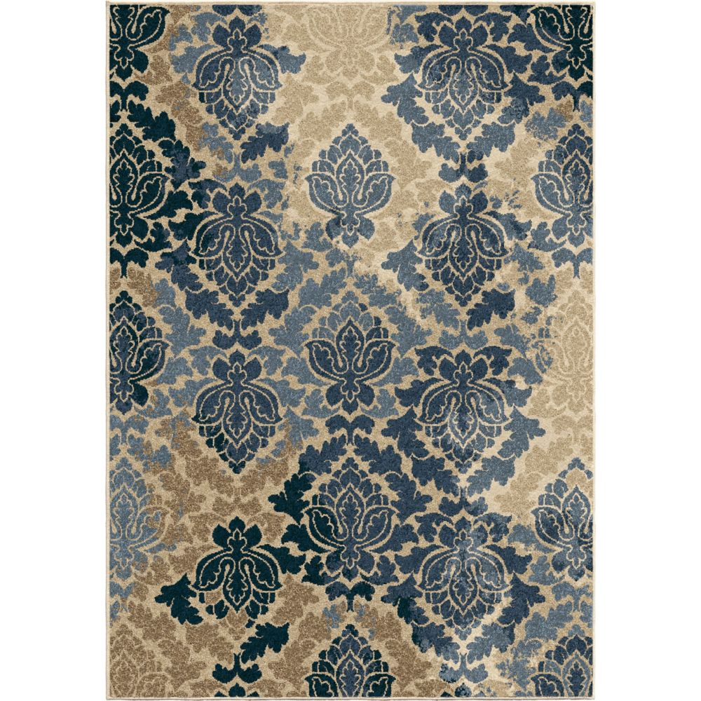 Orian Rugs Allover Damask Liberty Blue 5 ft. 2-inch x 7 ft. 6-inch Outdoor Area Rug