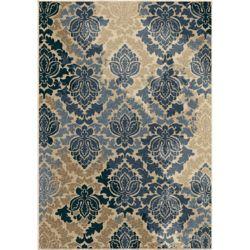 Orian Rugs Carpette d'extérieur Allover Damask Liberty Blue, 7 pi 8 po x 10 pi 10 po