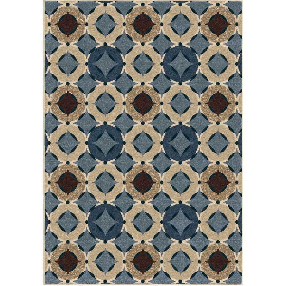 Orian Rugs Orbison Saxe Blue 5 ft. 2-inch x 7 ft. 6-inch Outdoor Area Rug