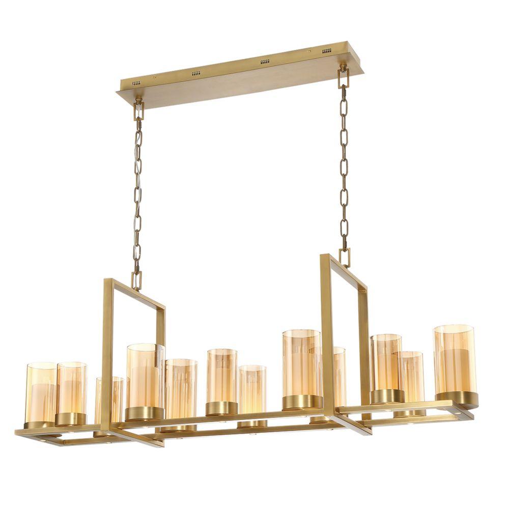 Eurofase Londra LED Rectangular Chandelier in Brass - 34037-027