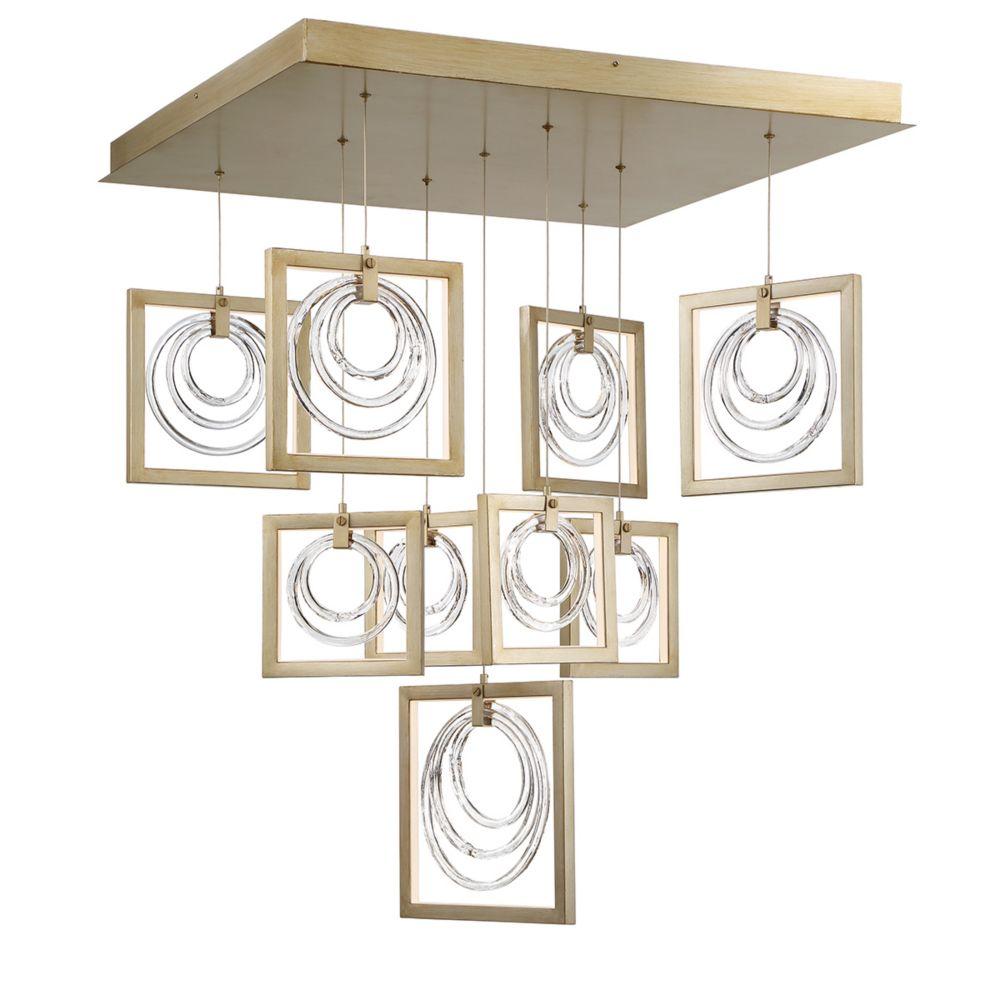 Eurofase Corinna Glass Rings 9-Light LED Linear Chandelier - 34056-011