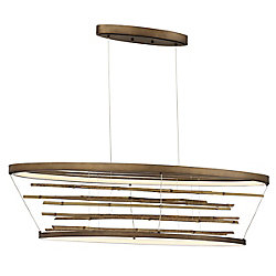 Petit lustre ovale Bobina à DEL en bambou - 34060-018
