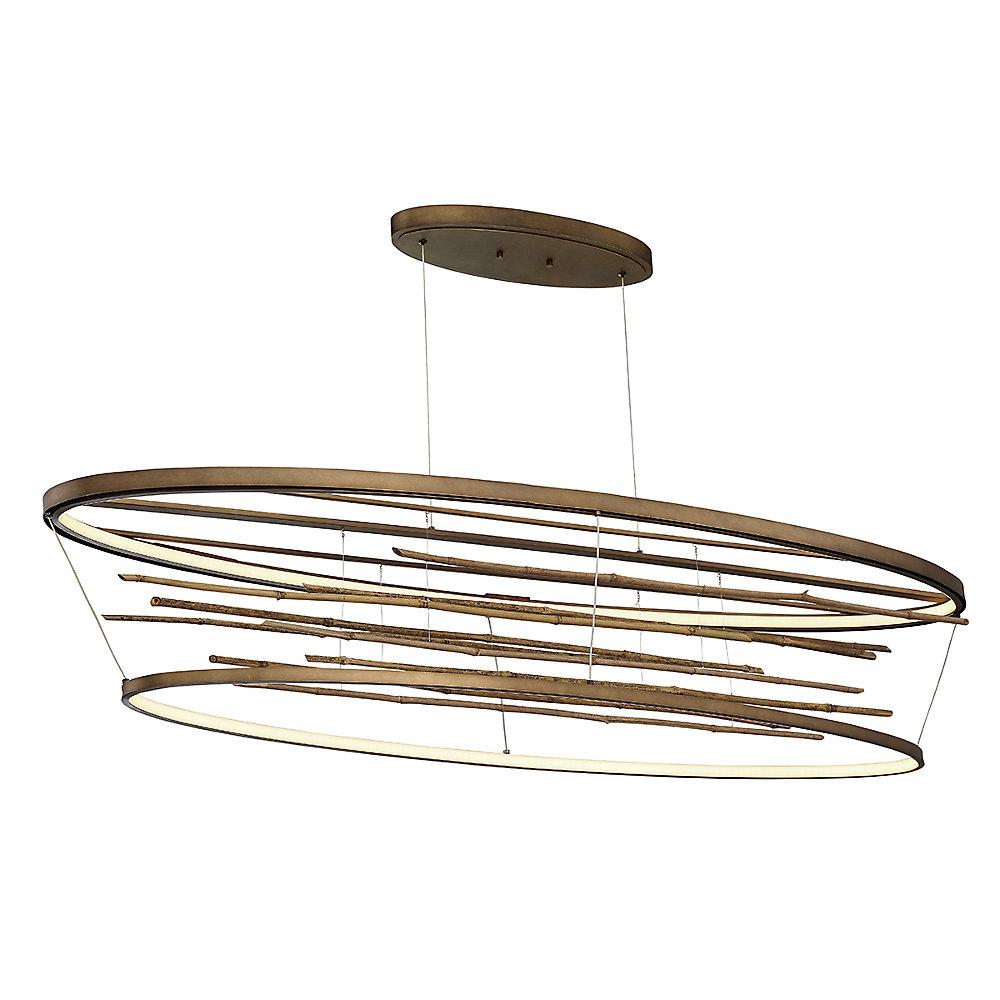 Grand lustre ovale Bobina à DEL en bambou - 34061-015