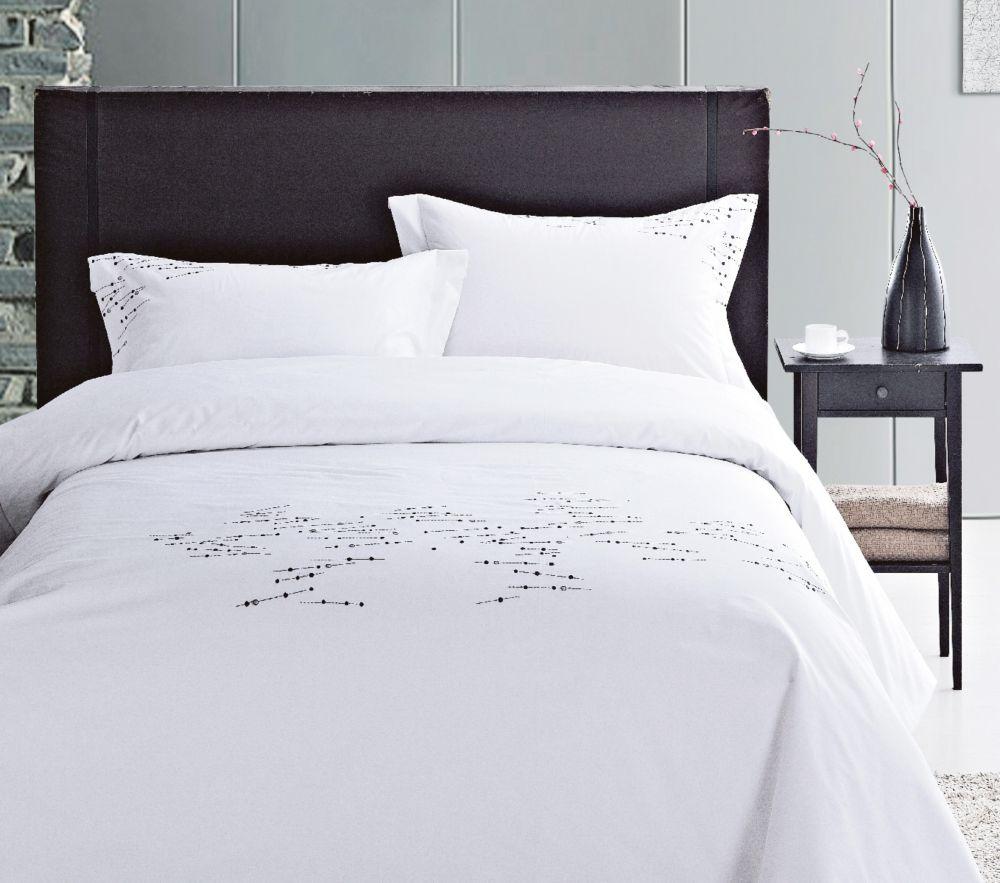 Housse De Couette Noir Blanc Gris renoir ensemble de housse de couette design géométrique, coton (3) queen,  blanc/noir/gris
