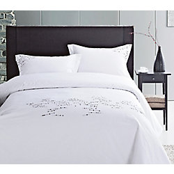 LJ Home Fashions Renoir Cotton Embroidered Geometric Duvet Cover Set (3-Piece) Queen, White/Black/Grey