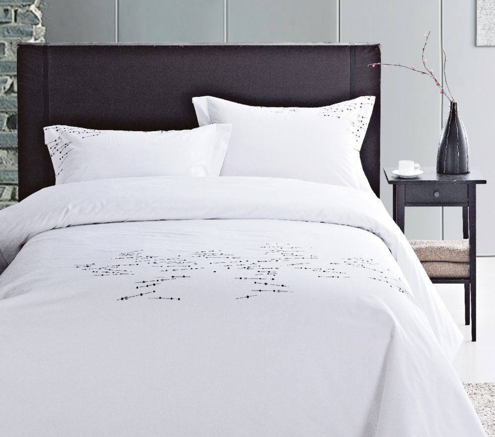 LJ Home Fashions Renoir Cotton Embroidered Geometric Duvet Cover Set (3 pieces) Queen, White/Black/Grey