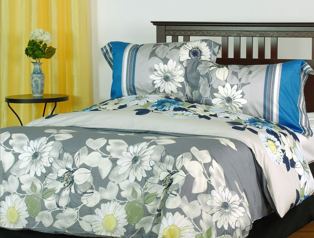 LJ Home Fashions Rosewood Cotton Reversible Floral Duvet Cover Set (3 pieces) Queen, Grey/Yellow/Blue/White