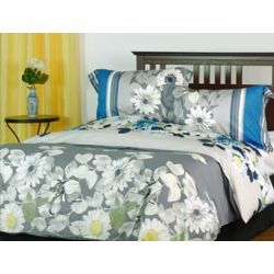 LJ Home Fashions Rosewood Cotton Reversible Floral Duvet Cover Set (3-Piece) Queen, Grey/Yellow/Blue/White