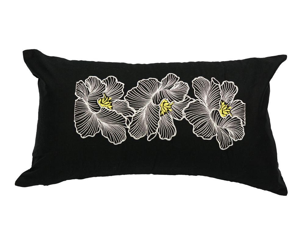 Lj Home Fashions Posy Cotton Embroidered Fl Pillow Cover 11 Inch W X 19 L Black White Yellow