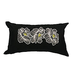 Posy Cotton Embroidered Floral Pillow Cover, 11 inch W x 19 inch L, Black/White/Yellow