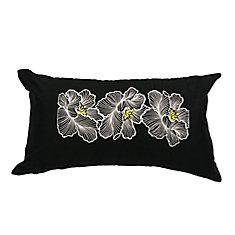 Taie d'oreiller florale brodée de coton Posy, 11x19 po, noir/blanc/jaune