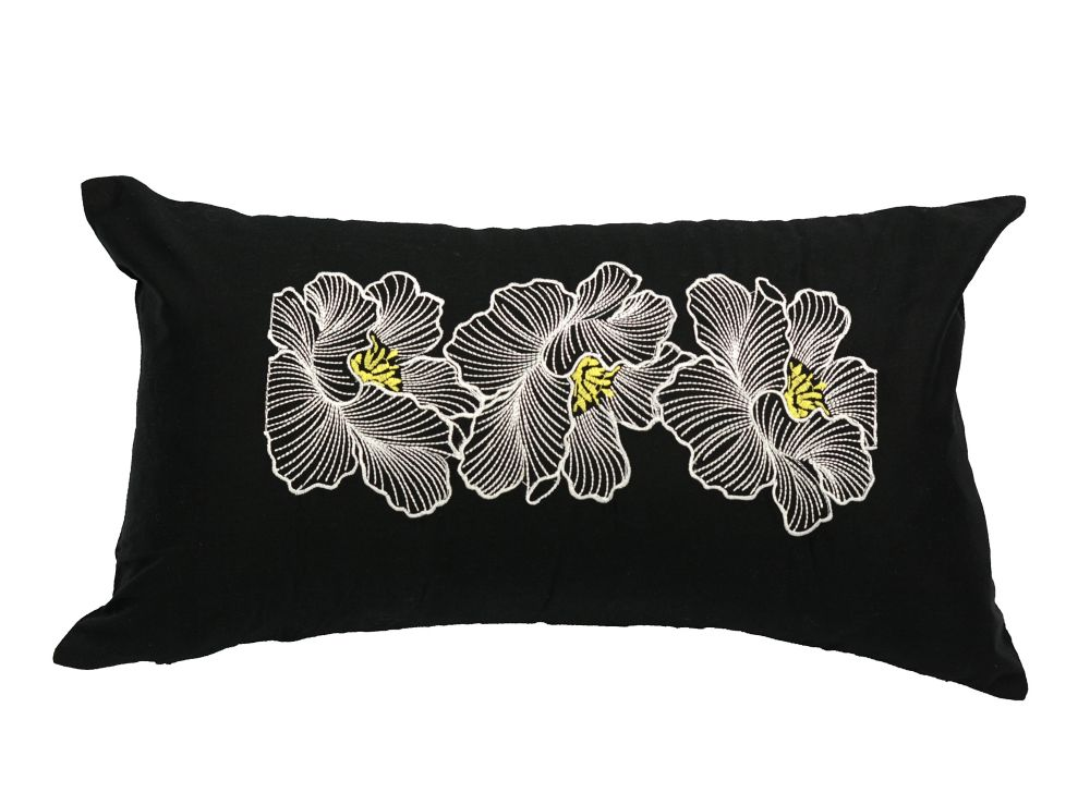 LJ Home Fashions Posy Cotton Embroidered Floral Pillow Cover, 11 inch W x 19 inch L, Black/White/Yellow