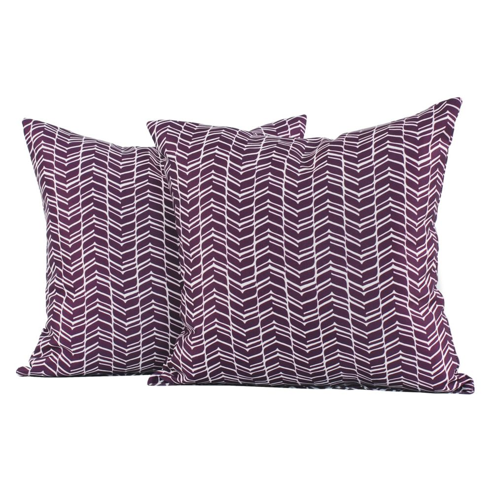 LJ Home Fashions Chevron Print Square Throw Cushions (Set of 2) 18-inch Purple/White