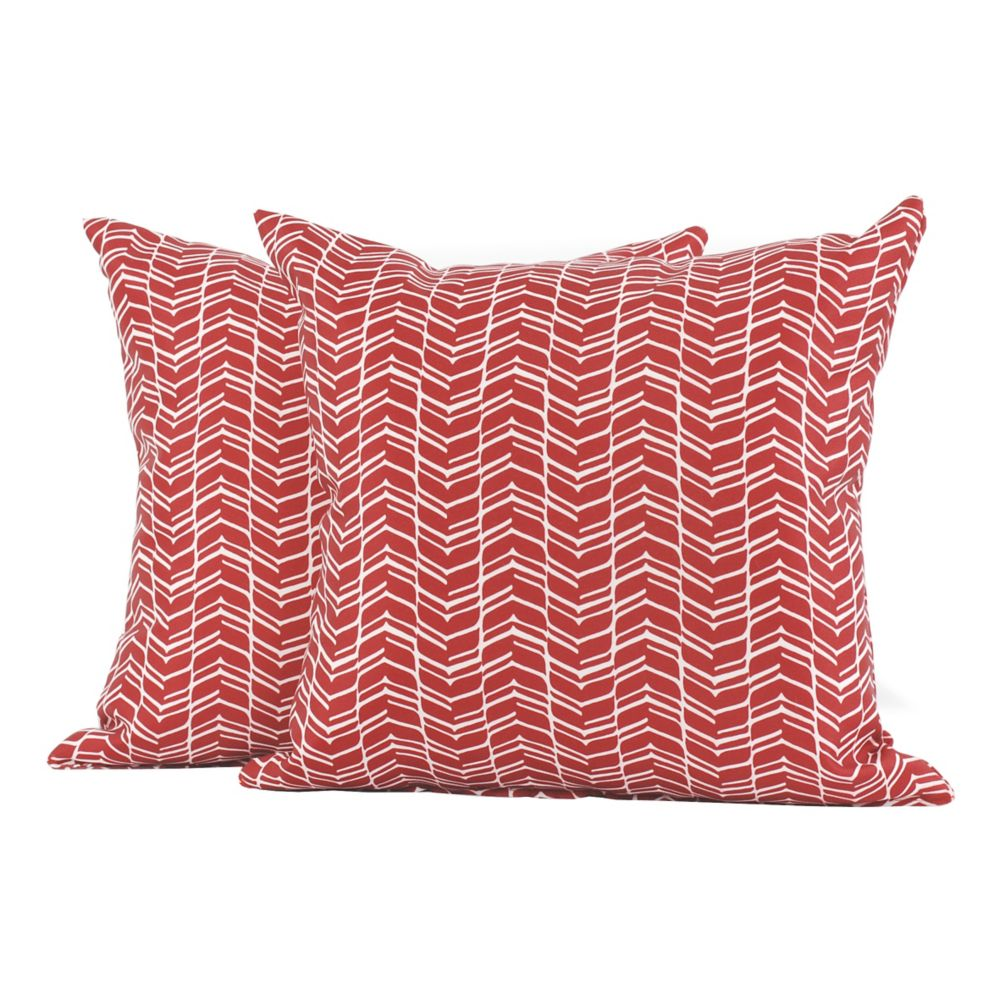 LJ Home Fashions Chevron Print Square Throw Cushions (Set of 2) 18-inch Rhubarb Red/White