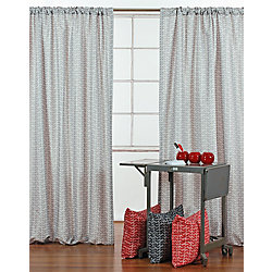 LJ Home Fashions Chevron Print Rod Pocket Curtain Panels 52 x 95-inch Grey/White (Set of 2)