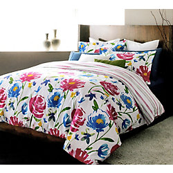 LJ Home Fashions Piccadilly Reversible Floral Stripe Duvet Cover Set (3-Piece) Queen, White/Blue/Pink/Green