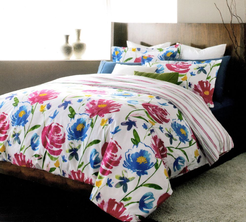 LJ Home Fashions Piccadilly Reversible Floral Stripe Duvet Cover Set (3 pieces) Queen, White/Blue/Pink/Green