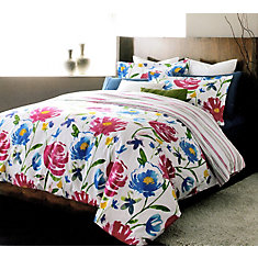 Piccadilly Reversible Floral Stripe Duvet Cover Set (3 pieces) King, White/Blue/Pink/Green