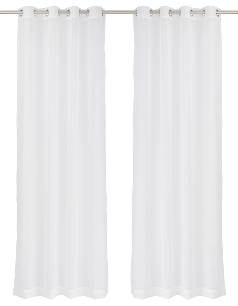 LJ Home Fashions Aura Sheer Elegant Voile Grommet Curtain Panel Set, 54 inch W x 95 Inch L, White
