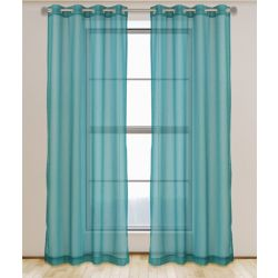 LJ Home Fashions Aura Sheer Elegant Voile Grommet Curtain Panel Set, 54 inch W x 95 Inch L, Sea Blue