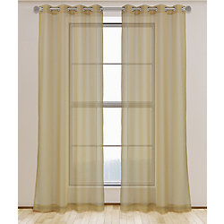 LJ Home Fashions Aura Sheer Elegant Voile Grommet Curtain Panel Set, 54 inch W x 95 Inch L, Brushed Gold