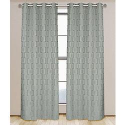 LJ Home Fashions Nexus 2 panneaux geometrique a oeillets Lianne aspect lin l'ensemble 52 x 95, gris