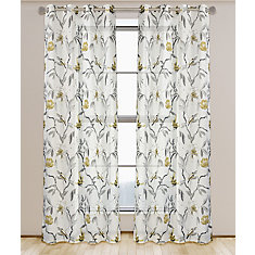 Andi Floral Botanical Semi Sheer Grommet Curtain Panel Set, 54 inch W x 95 inch L, White/Black/Grey/Brushed Gold