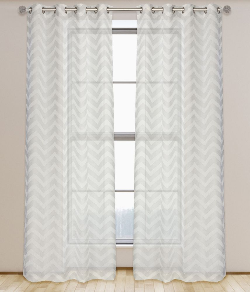 LJ Home Fashions Artemis Geometric Chevron Semi Sheer Grommet Curtain Panels (Set of 2) 52 x 95-inch White/Grey