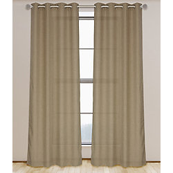 LJ Home Fashions Lianne Faux Linen Grommet Curtain Panel Set 52 inch W x 95 inch L, Golden Wheat