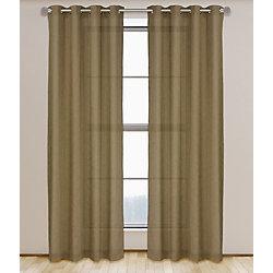 LJ Home Fashions Maestro Linen Like Grommet Curtain Panel Set,  54 inch W x 95 inch L, Light Brown
